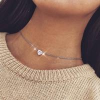 2019 nouveau mode féminine collier coeur en cristal pendentif court chaîne en or collier pendentif collier breloque cadeaux copines