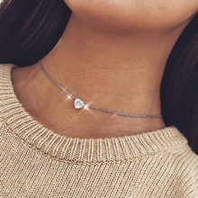 Новая женская мода Кристальное сердце ожерелье подвеска короткая Золотая цепь Ожерелье Подвеска Ожерелье Шарм подарки подругам