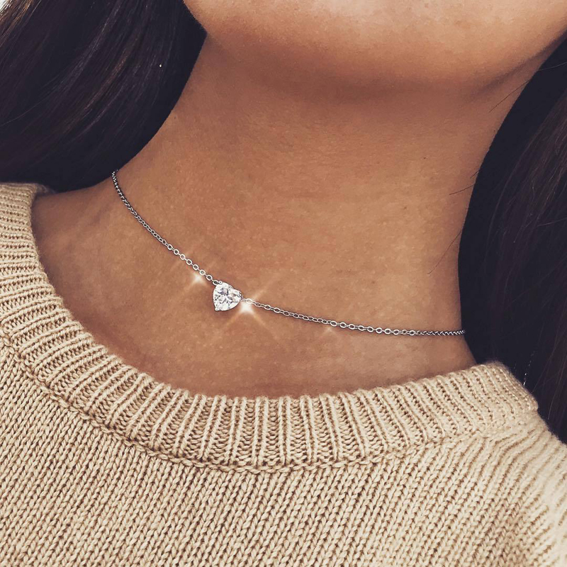 2020 New Female Fashion Crystal Heart Necklace Pendant Short Gold Chain Necklace Pendant Necklace Charm Gifts girlfriends