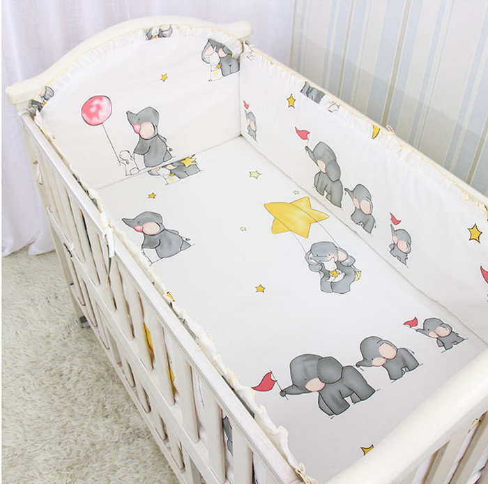 5PCS Baby Girls Crib Bedding Set Baby Bed Linen Crib Bumper Soft Detachable Bed Sets Bed Decoration,include(4bumper+sheet)