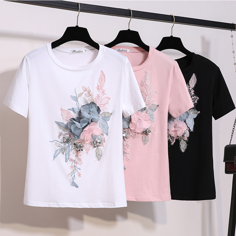 Summer Embroidery Beading Flower Tshirts Women O Neck Short Sleeve Girl Tops T-shirts Women Floral Tee Shirt