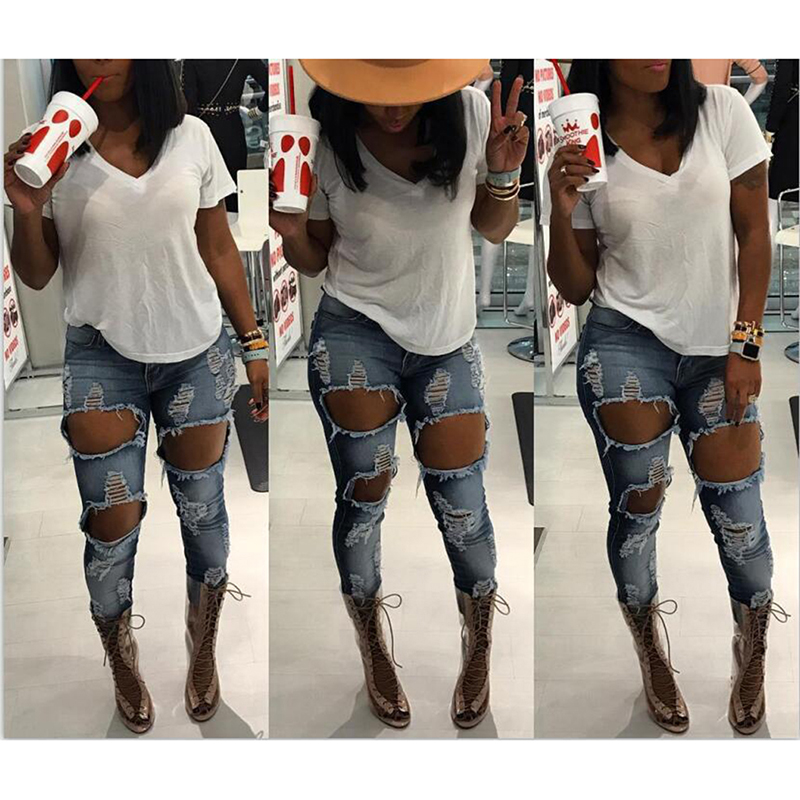 Sexy Hole Women Jeans Fashion Ripped Jean Female Distressed Slim Fit Jean High Waist Ladies Pencil Pants Ankle Length Pant