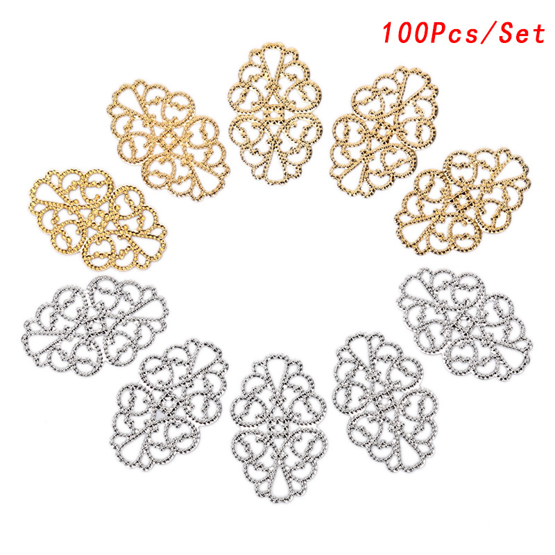 50Pcs Silver Plated Flower Filigree Wraps Charms Connectors Jewelry Diy Findings