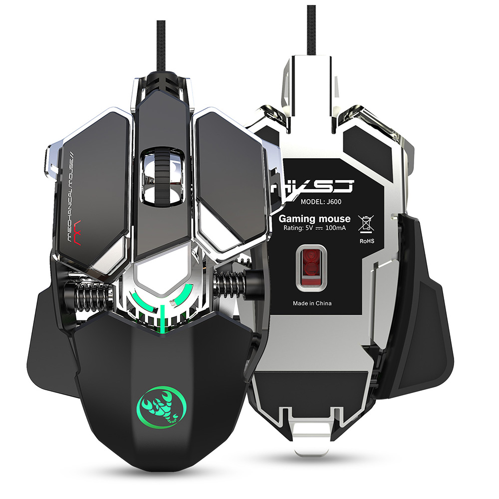 J600 Macros Define Mechanical Gaming Mouse USB Wired 6400DPI Mice 9 Programmable Keys Computer Optical Mause Gamer Mouse
