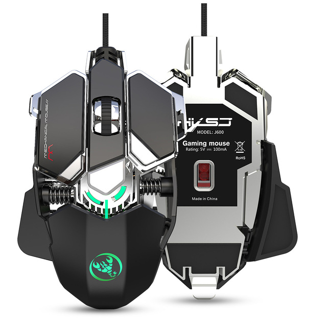 RGB Gaming Mouse 6400 DPI High Precision Wired USB Computer Mause Mouse Gamer 9 Keys Programmable Macros Define Game Mice Mouse