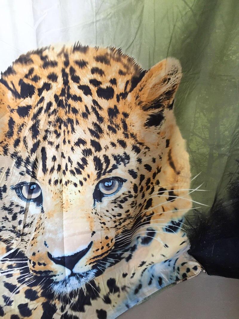 Ensemble de literie en coton mélangé imprimé léopard vert pour housse de couette - 3