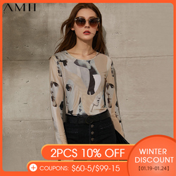Amii Minimalism Spring Summer Women's Tshirt Fashion Printed Oneck Slim Fit Full Sleeve Female Tshirt Tops 12140088