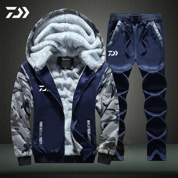 Odzież wędkarska zestaw jesienno-zimowa Outdoor Sport kamuflaż piesze wycieczki wędkarskie koszule i spodnie męskie kurtki wędkarskie z kapturem tanie i dobre opinie gamdaiwa