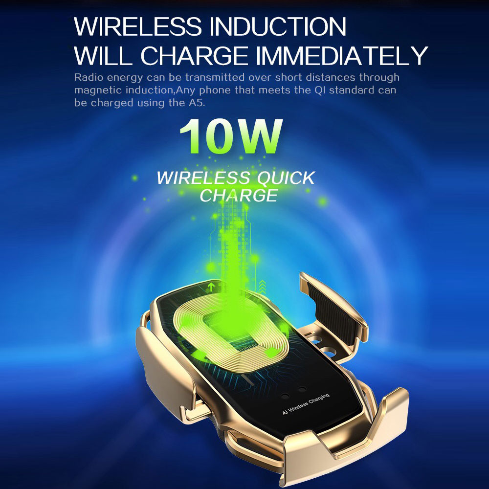 Image 2 - 10W Automatic Clamping Wireless Charger Car Phone Holder For  Samsaung Fast Wireless Charging For iPhone X 8 Qi Wireless  ChargerWireless Chargers