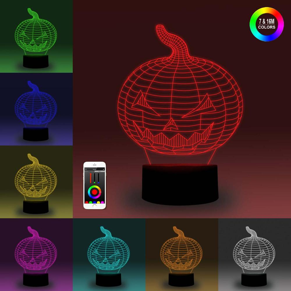 NiteApps 3D Halloween Pumpkin Night Light Desk Table Illusion Decoration Lamp Holiday Birthday Gift APP/Touch Control