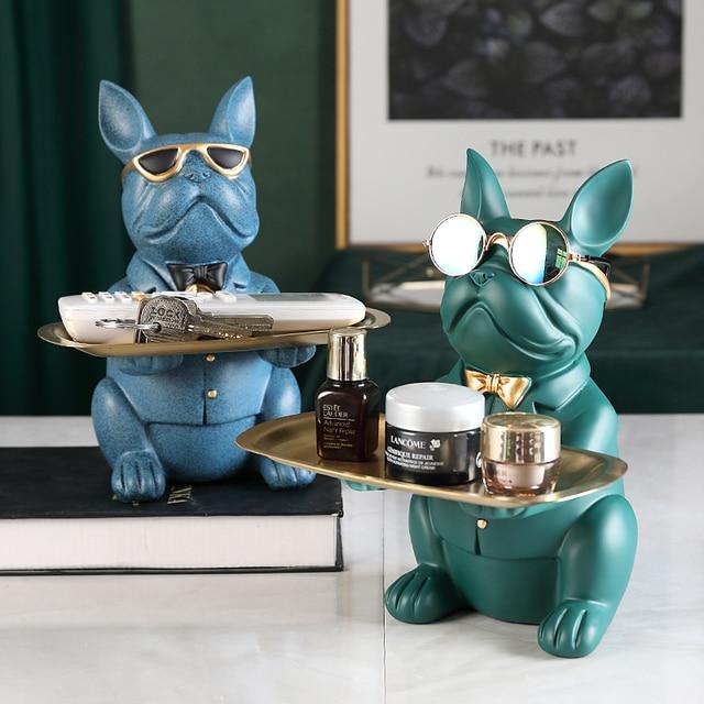 Cool Bulldog,Statue,Table Decoration,Fashion Sculpture,Home Room Decor,Multifunction,Desk Storage,Figurine Miniature,Coin Bank 1