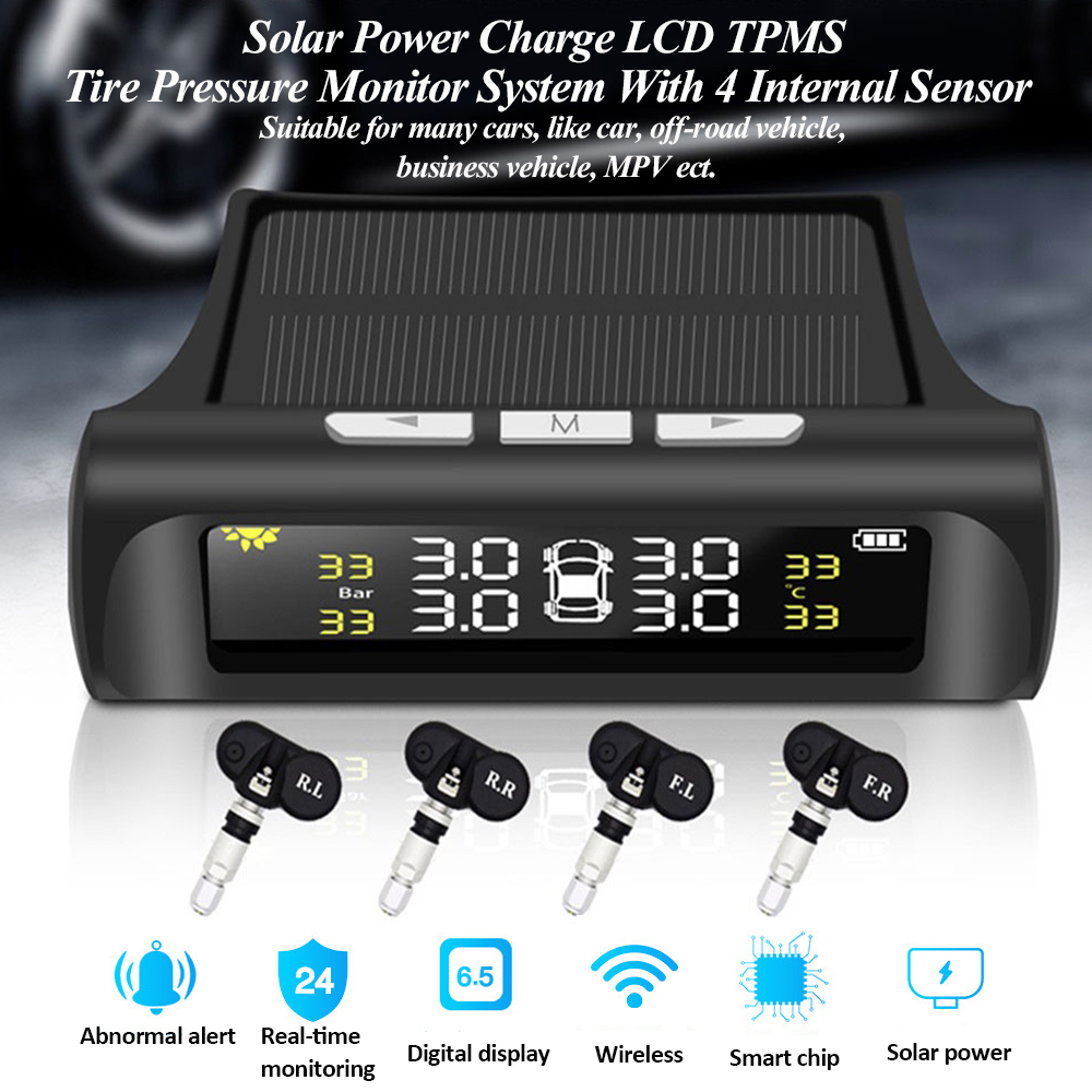 Solar Power Car Tire Pressure Alarm Monitor System TPMS Digital LCD Auto Security Alarm System Tyre Pressure Temperature Warning