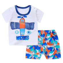 Pasgeboren Baby Baby Jongens Meisjes Korte Mouwen Cartoon Tops Shirt + Broek Outfits Set(China)