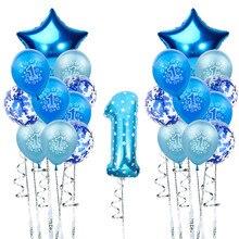Globos de 1er cumpleaños de látex azul y rosa, globo de confeti, estrella, corazón, globo de aluminio para niño y niña, 1 año de edad, decorado de primera fiesta de cumpleaños