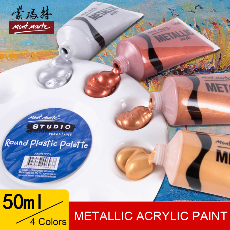 50ml Metallic Color Acrylic Paint For Ceramic Drawing Wall Hand Painted Shining Gel Painting Set Pigment For Artist Art Supplies