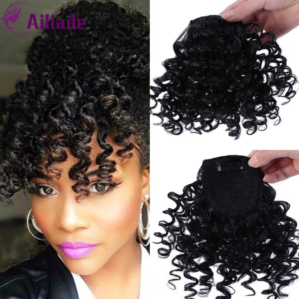 AILIADE Kinky Curly Bang For Black White Woman Fake Fringe Clips In Bangs Wig Hair Loose Black Synthetic Hair Extension