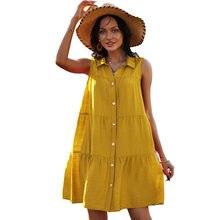 Plus size solto casual camisa vestido moda turn-down colarinho sem mangas vestido de verão feminino único-breasted escritório senhoras vestidos