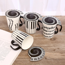 Creative Ceramic Mugs Coffee Cup Piano Musical Note with Cover Lid Cute for Weird Gifts Milk Mug Drinkware