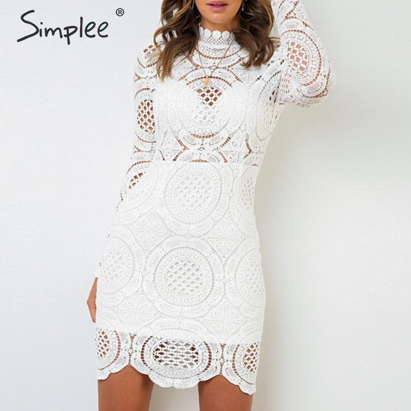 Simplee Sexy Turtleneck White Dress Hollow Out Long Sleeve Party Night Lace Dress Elegant Straight Women Autumn Chic Mini Dress