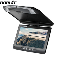 BORUiT 9 inches LCD Digital Screen Car Roof Mounted Display Monitor with Remote Controller Car Ceiling Flip Down DVD CD Player