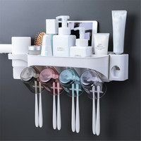 Bathroom Storage Toothbrush Holder Washing Set Wall Hanging Cup Holder Convenient Save Space Home Mount Rack Bathroom Tools Set|Toothbrush & Toothpaste Holders|   -