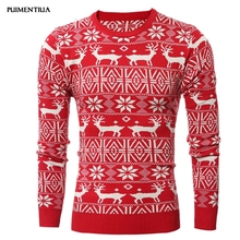 PUIMENTIUA 2019 New Christmas Style Men Autumn Winter Pullover Sweater Deer Printed Long Sleeve Thicken Warm O-Neck Sweaters Men