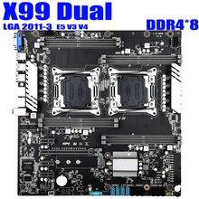 Материнская плата X99 LGA 2011 v3 v4 с двумя процессорами, E ATX USB3.0 SATA3 VGA с двумя процессорами Xeon, материнская плата со слотом M.2, двойной Giga LAN