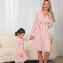 Famille maman et fille correspondant à des vêtements, robe simple fille assortie,2021 maman et fille robe, robe madre e hija