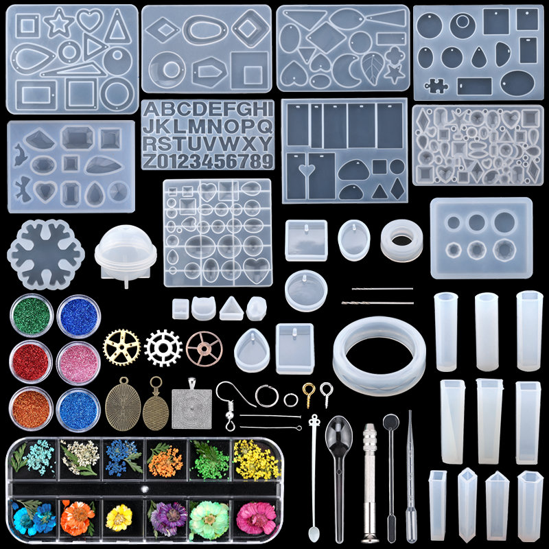 Epoxy-Casting-Molds-Tools-Set Jewelry Clay Mixed-Style DIY Silicone Resin