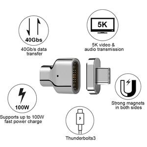 Image 2 - Adaptador magnético usb c de 24 pinos para usb c 3.1, conversor suporte adaptador 100w pd, vídeo 5k de dados 40eur/s para dispositivo mais tipo c