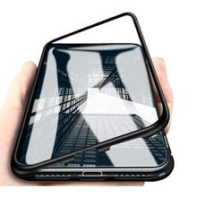 Nueva funda magnética para iphone 11 pro MAX, carcasa magnética de metal para parachoques XS xr 7 8 PLUS, funda de vidrio, adsorbtion de cuerpo completo al por mayor