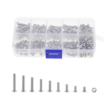 340PCS M3 Button Head Hex Socket Screw Bolt Nut Stainless Steel SS304 M3 Screws Nuts Assortment Kit Fastener Hardware 340pcs assorted stainless steel m3 screw 5 6 8 10 12 14 16 18 20mm with hex nuts bolt cap socket set