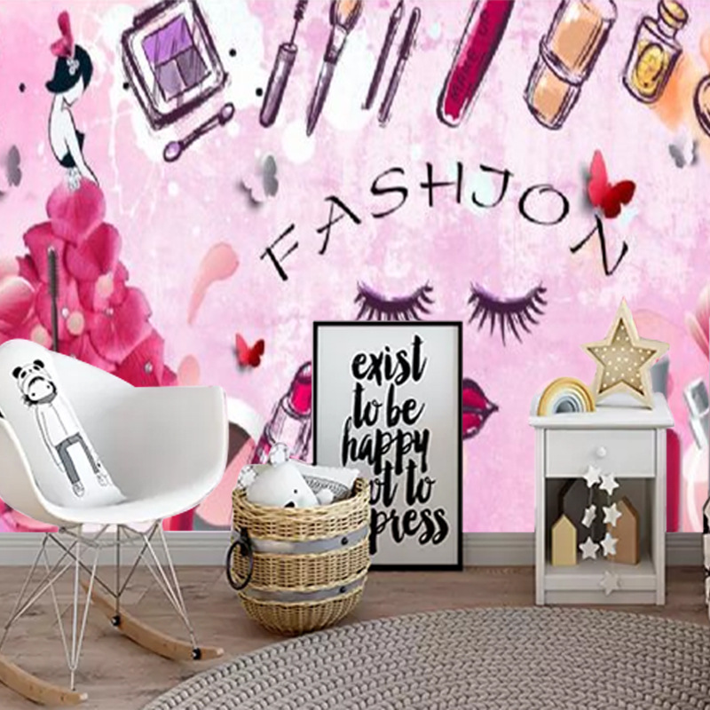 European Style Fashion Hand-Painted Cosmetics Nail Salons Beauty Shop Wall Beautiful Makeup Clothing Store Wallpaper Mural