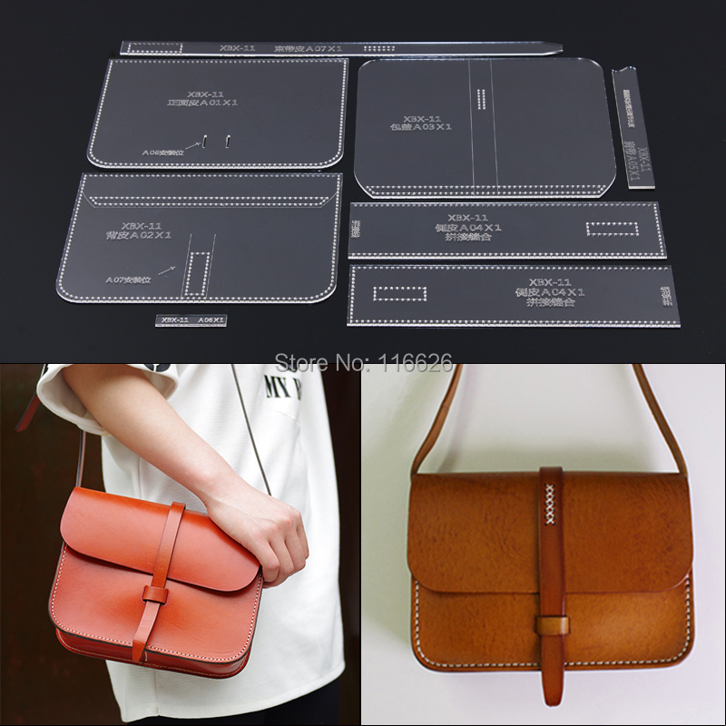 DIY Leather Craft Women Shoulder Bag Pattern Template Stencil Set