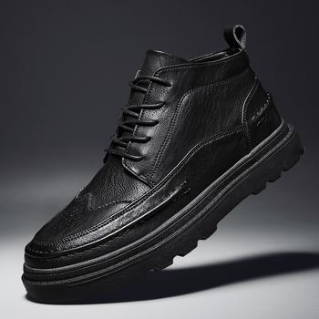Killspai buty męskie botki skórzane futro pluszowe ciepłe buty zimowe mężczyźni trampki łódź moda Brogue Chelsea Boots mężczyźni tanie i dobre opinie Podstawowe CN (pochodzenie) Mikrofibra ANKLE Stałe Krótki pluszowe Plush Okrągły nosek RUBBER Zima Med (3 cm-5 cm) Lace-up