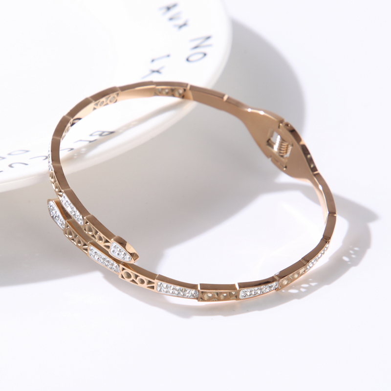 CZ Spring Clasp Bangles Charming Animal Shape Stainless Steel Bracelets for Women Men Gold Color Jewelry Gift  - buy with discount