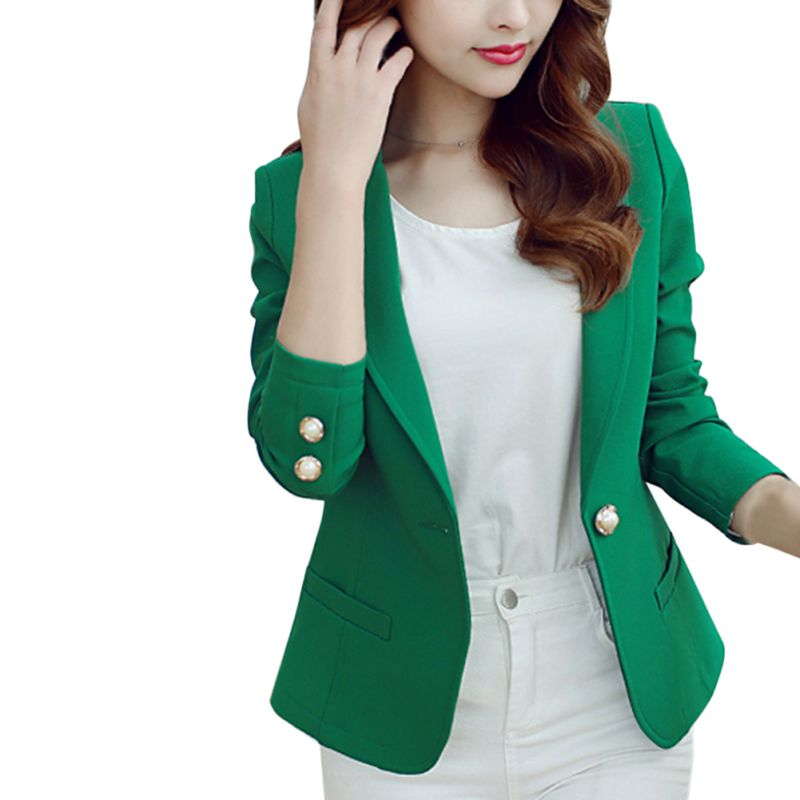 Women Blazers Spring Autumn Single Button Plus Size Office Lady Elegant Blazer With Long Sleeves Solid