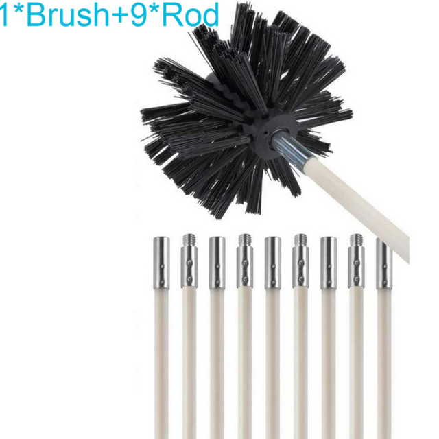 Chimney Cleaner Brush Clean Rotary Sweep System Fireplace Kit Rod Tool Set Home
