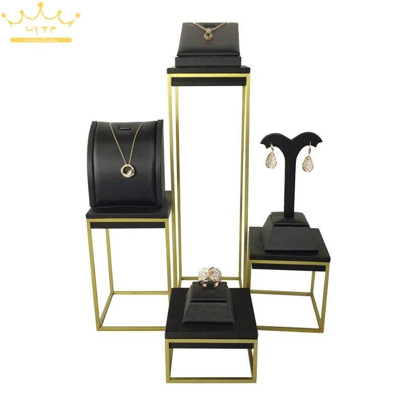 Porte-présentoir de comptoir à bijoux en cuir noir organisateur de bijoux collier présentoir boucle d'oreille présentoir