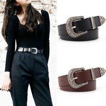 Cinto de couro preto feminino metal coração fivela cinto de cintura vintage ocidental esculpida jeans senhoras cintos camisas cintura cinturon mujer