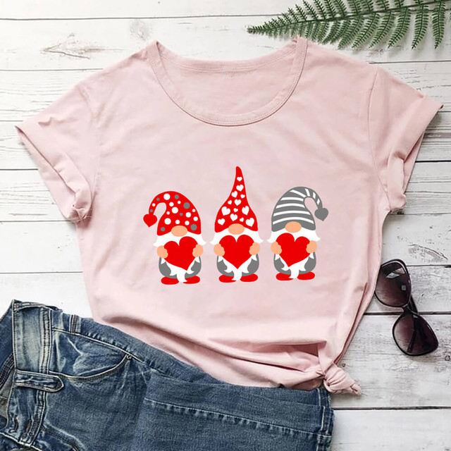 #S0 Women Harajuku Tshirt Love Assortis Gnome Print Round Neck Funny Kawaii T Shirt Graphic Tees Tops Valentine's Day Gift 1