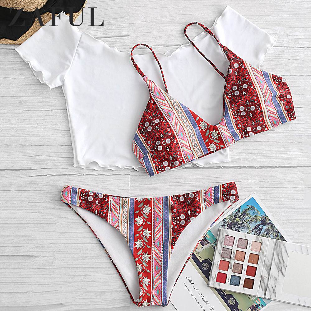 ZAFUL Bohemian Printed Lettuce Trim Three Piece Swimsuit Women Low Waisted Off The Shoulder Bathing Suits Vintage Print Swimwear