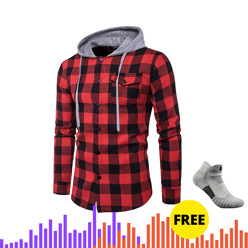 Adisputent Hip  Plaid Printed Men's Shirts Long Sleeve Hooded Shirts For Male Autumn Coat Buttons Streetwear Camisa Masculina