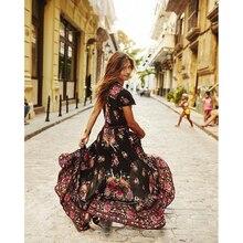 ZOGAA 2019 New Women Summer DRESS V Neck Vintage Boho Long Maxi Floral National Chiffon Dress Party Beach Sundress