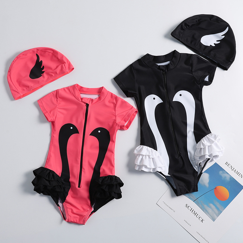 2019 Europe And America New Style Hot Sales KID'S Swimwear Send Swimming Cap Contrast Color Cartoon Swan Small Stand Collar Tria