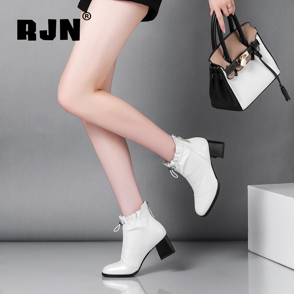Promo RJN High Quality Genuine Leather Women Boots Classic Round High Toe Square Heel Contraction Band Zipper Fashion Ankle Boots RO09