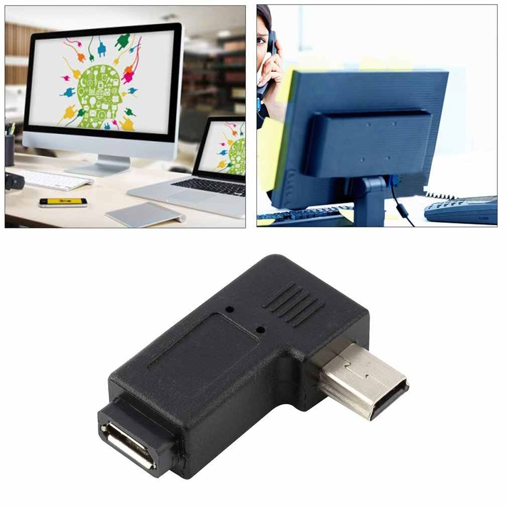 Czarny lekki Mini 5 Pin mikro usb męski 5 Pin kobieta o 90 stopni w lewo/adapter kątowy wtyczka konwersji i grać