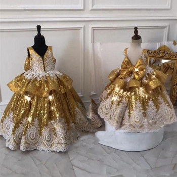 Gold Sequins Flower Girl Dresses Baby First Birthday  Pageant Dress with White Lace Applique Bow Kids Clothes for Party Prom