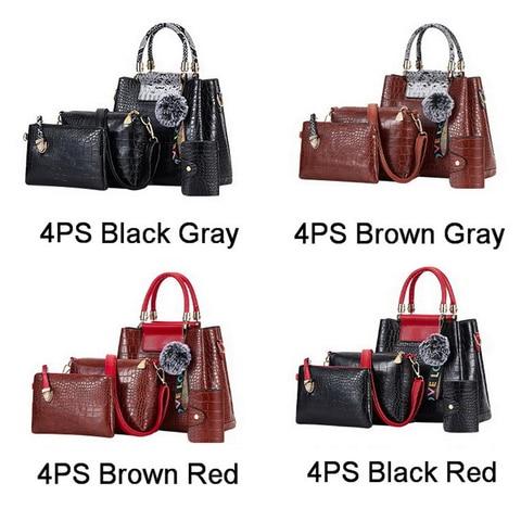 FUNMARDI 4PS Women Bags Set Luxury Crocodile Female Handbags PU Leather Shoulder Bags Brand Composite Bags Messenger WLHB2024 Karachi