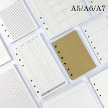45 hojas de negocio A5 A6 hoja suelta recambio de cuaderno Índice de carpeta espiral dentro de la página mensual semanal lista de artículos de papelería para hacer